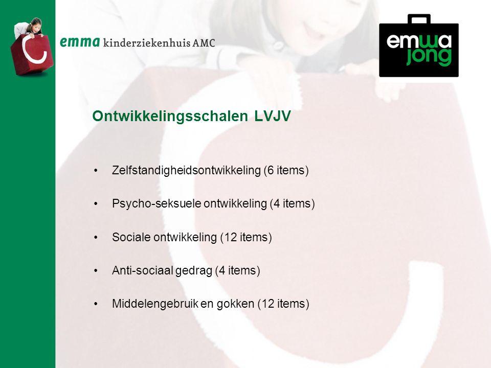 Ontwikkelingsschalen LVJV Zelfstandigheidsontwikkeling (6 items) Psycho-seksuele ontwikkeling (4 items) Sociale ontwikkeling (12 items) Anti-sociaal gedrag (4 items) Middelengebruik en gokken (12 items)