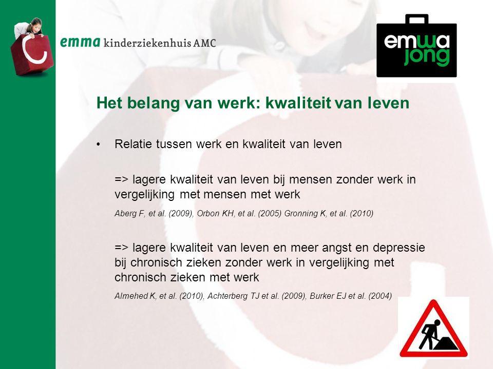 Het belang van werk: kwaliteit van leven Relatie tussen werk en kwaliteit van leven => lagere kwaliteit van leven bij mensen zonder werk in vergelijking met mensen met werk Aberg F, et al.