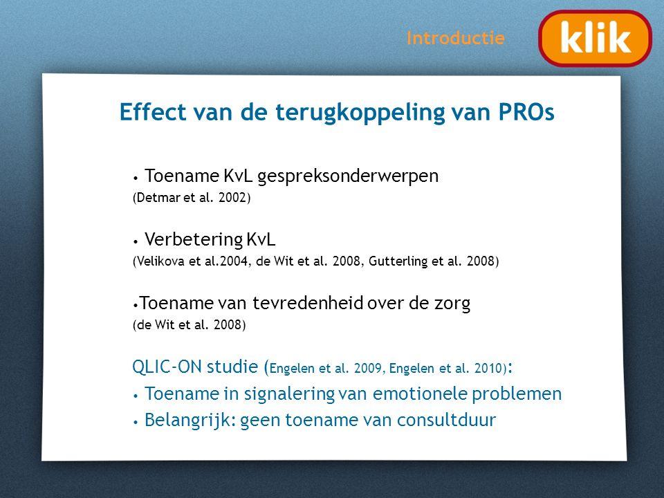 Doel van het KLIK onderzoek Introductie Het effect van de terugkoppeling van een web-based KLIK PROfiel onderzoeken in de poliklinische kinderreumatologische praktijk.