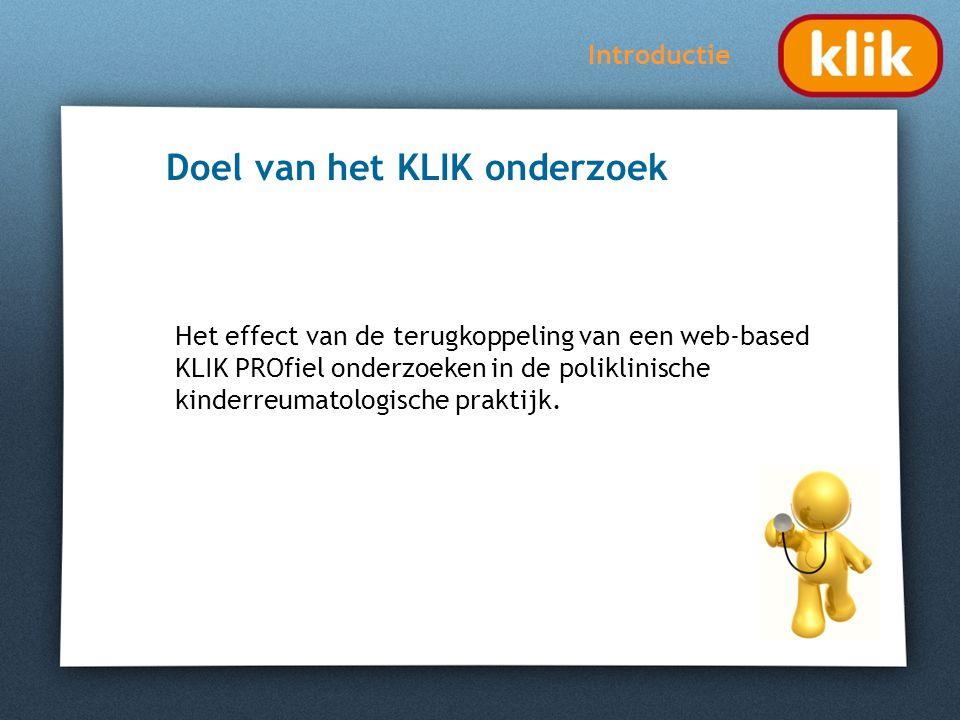 KLIK onderzoek Alle patiënten met de diagnose jeugdreuma in Amsterdam (4 centra) Sequentieel cohort design (geen randomisatie) Controle (geen PROfiel) en interventiegroep (PROfiel) Methode