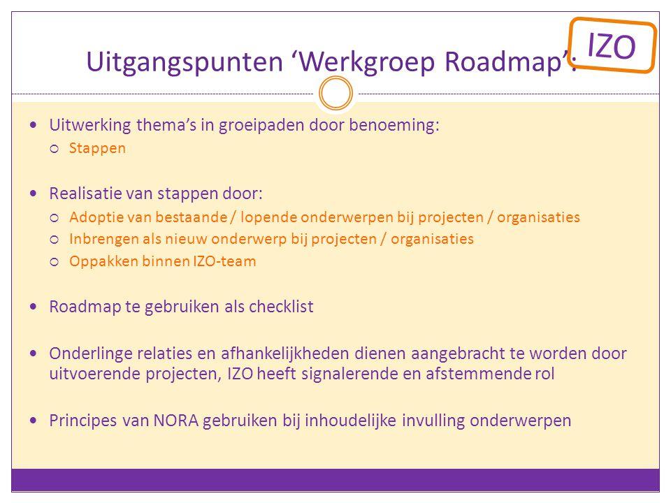 IZO Uitgangspunten 'Werkgroep Roadmap': Uitwerking thema's in groeipaden door benoeming:  Stappen Realisatie van stappen door:  Adoptie van bestaande / lopende onderwerpen bij projecten / organisaties  Inbrengen als nieuw onderwerp bij projecten / organisaties  Oppakken binnen IZO-team Roadmap te gebruiken als checklist Onderlinge relaties en afhankelijkheden dienen aangebracht te worden door uitvoerende projecten, IZO heeft signalerende en afstemmende rol Principes van NORA gebruiken bij inhoudelijke invulling onderwerpen