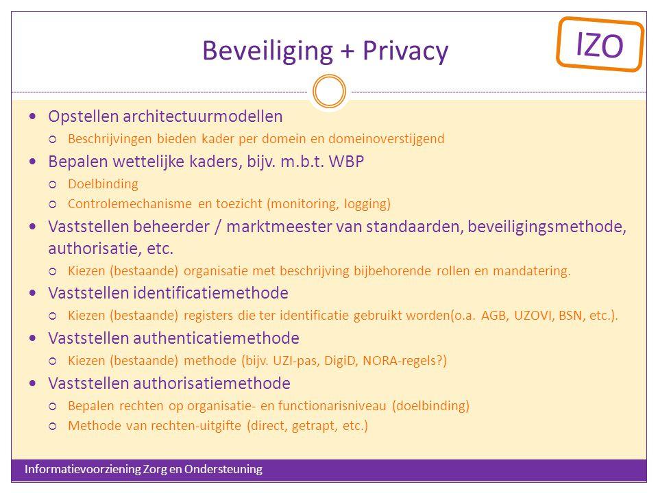 IZO Beveiliging + Privacy Opstellen architectuurmodellen  Beschrijvingen bieden kader per domein en domeinoverstijgend Bepalen wettelijke kaders, bijv.