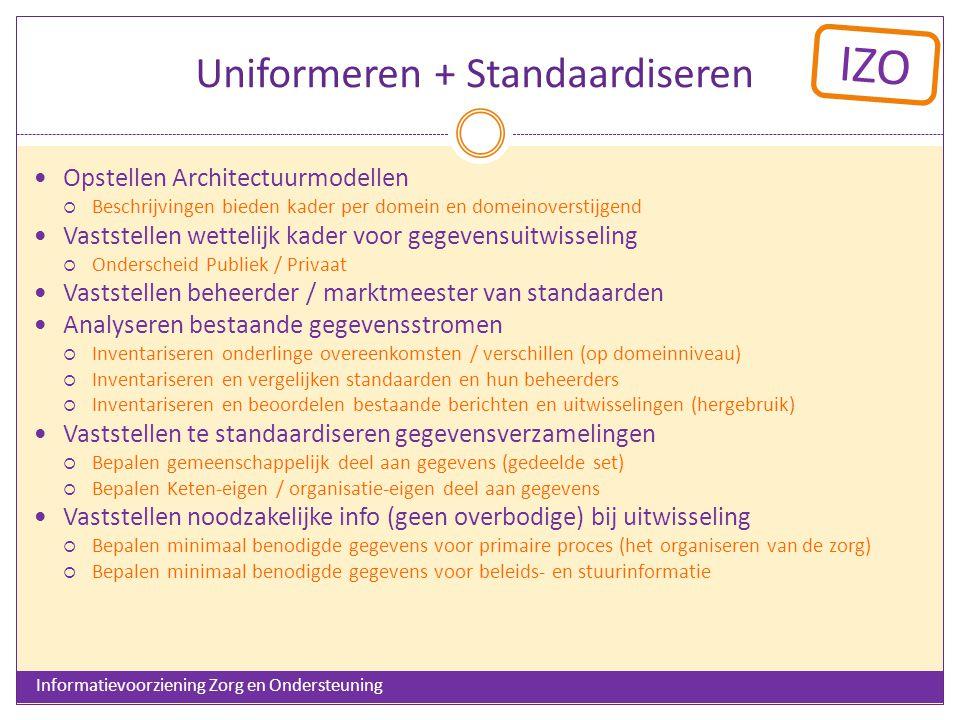 IZO Uniformeren + Standaardiseren Opstellen Architectuurmodellen  Beschrijvingen bieden kader per domein en domeinoverstijgend Vaststellen wettelijk kader voor gegevensuitwisseling  Onderscheid Publiek / Privaat Vaststellen beheerder / marktmeester van standaarden Analyseren bestaande gegevensstromen  Inventariseren onderlinge overeenkomsten / verschillen (op domeinniveau)  Inventariseren en vergelijken standaarden en hun beheerders  Inventariseren en beoordelen bestaande berichten en uitwisselingen (hergebruik) Vaststellen te standaardiseren gegevensverzamelingen  Bepalen gemeenschappelijk deel aan gegevens (gedeelde set)  Bepalen Keten-eigen / organisatie-eigen deel aan gegevens Vaststellen noodzakelijke info (geen overbodige) bij uitwisseling  Bepalen minimaal benodigde gegevens voor primaire proces (het organiseren van de zorg)  Bepalen minimaal benodigde gegevens voor beleids- en stuurinformatie Informatievoorziening Zorg en Ondersteuning