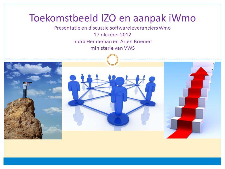 Toekomstbeeld IZO en aanpak iWmo Presentatie en discussie softwareleveranciers Wmo 17 oktober 2012 Indra Henneman en Arjen Brienen ministerie van VWS
