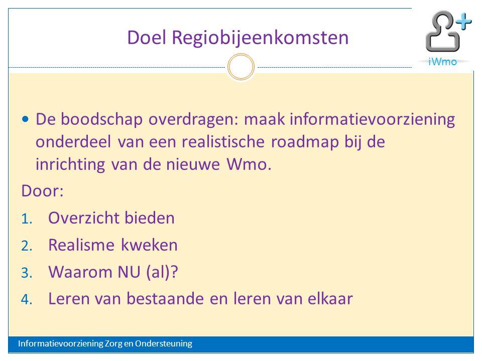 Doel Regiobijeenkomsten De boodschap overdragen: maak informatievoorziening onderdeel van een realistische roadmap bij de inrichting van de nieuwe Wmo.