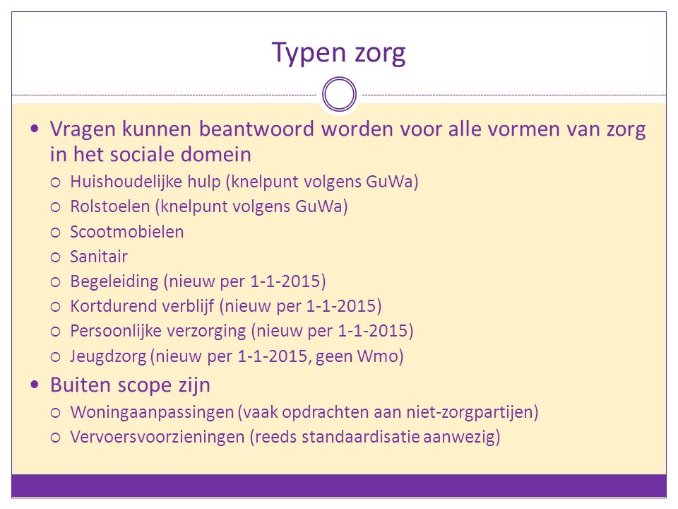 Typen zorg Vragen kunnen beantwoord worden voor alle vormen van zorg in het sociale domein  Huishoudelijke hulp (knelpunt volgens GuWa)  Rolstoelen