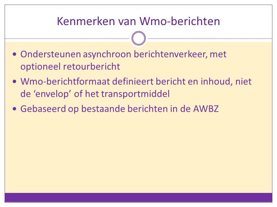 Kenmerken van Wmo-berichten Ondersteunen asynchroon berichtenverkeer, met optioneel retourbericht Wmo-berichtformaat definieert bericht en inhoud, nie
