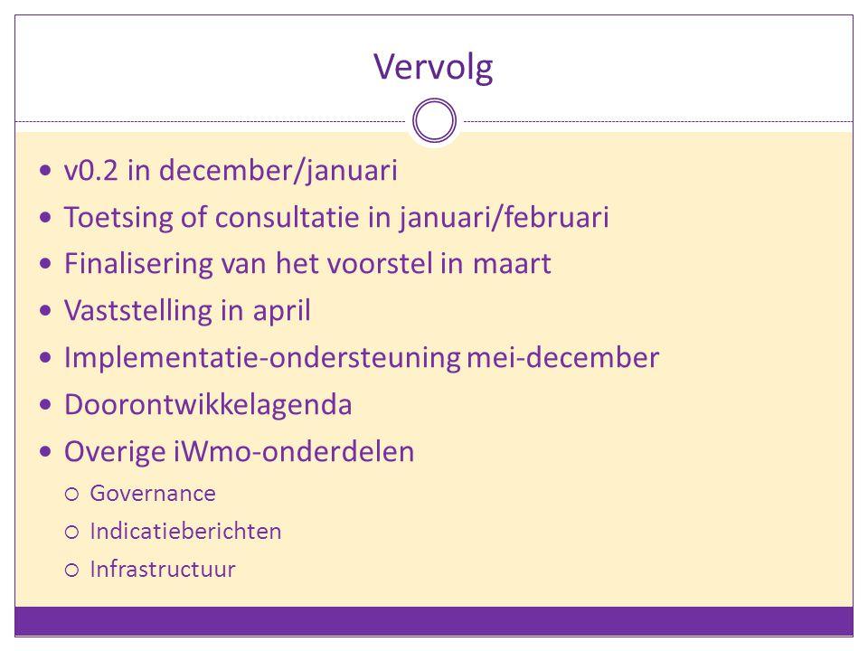 Vervolg v0.2 in december/januari Toetsing of consultatie in januari/februari Finalisering van het voorstel in maart Vaststelling in april Implementati