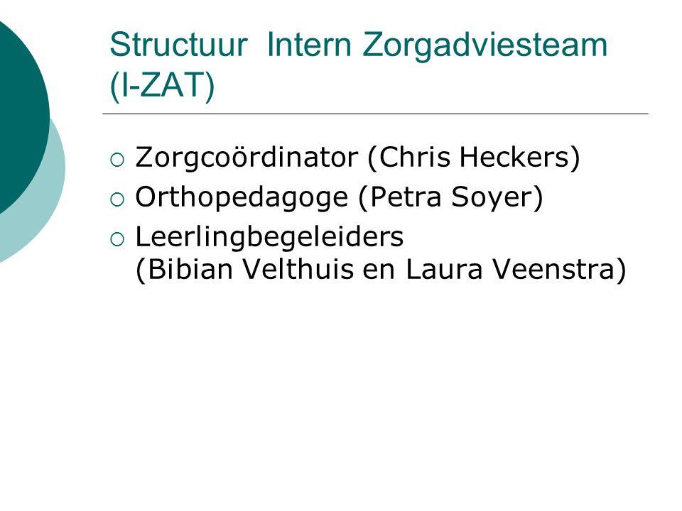 Structuur Intern Zorgadviesteam (I-ZAT)  Zorgcoördinator (Chris Heckers)  Orthopedagoge (Petra Soyer)  Leerlingbegeleiders (Bibian Velthuis en Laur