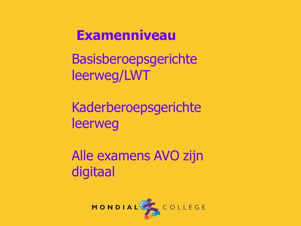 Examenniveau Basisberoepsgerichte leerweg/LWT Kaderberoepsgerichte leerweg Alle examens AVO zijn digitaal