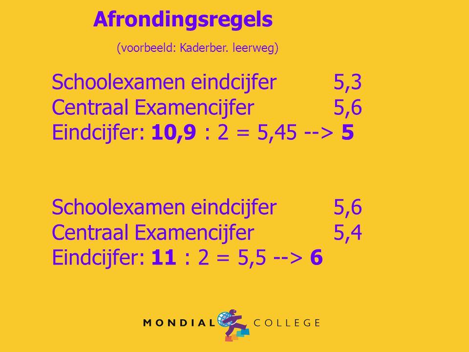 Afrondingsregels (voorbeeld: Kaderber. leerweg) Schoolexamen eindcijfer5,3 Centraal Examencijfer5,6 Eindcijfer: 10,9 : 2 = 5,45 --> 5 Schoolexamen ein