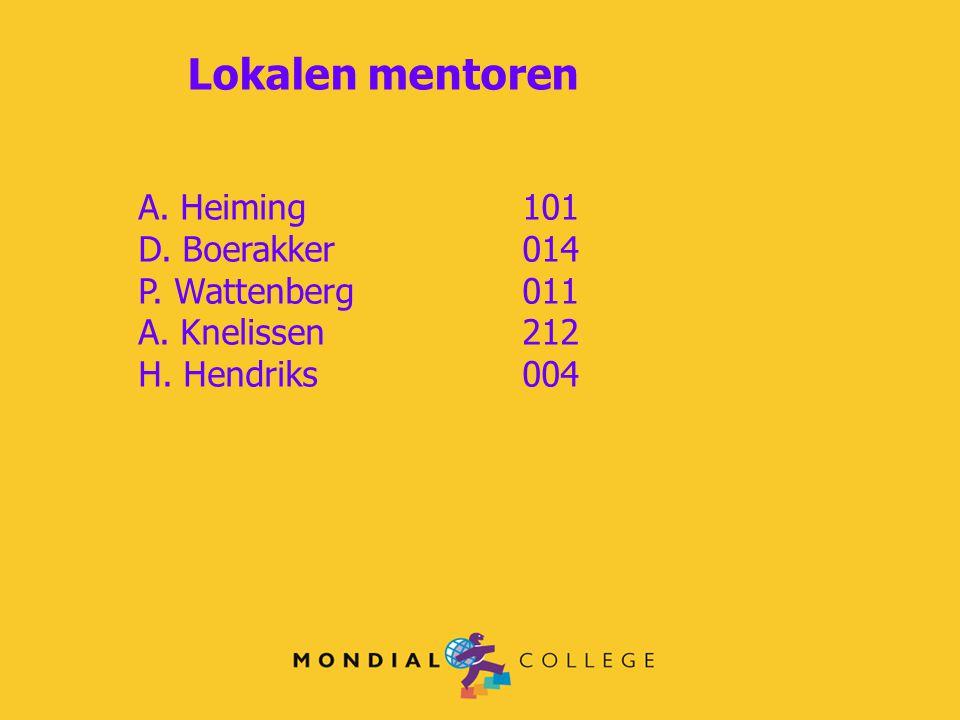 Lokalen mentoren A. Heiming101 D. Boerakker 014 P. Wattenberg 011 A. Knelissen 212 H. Hendriks004