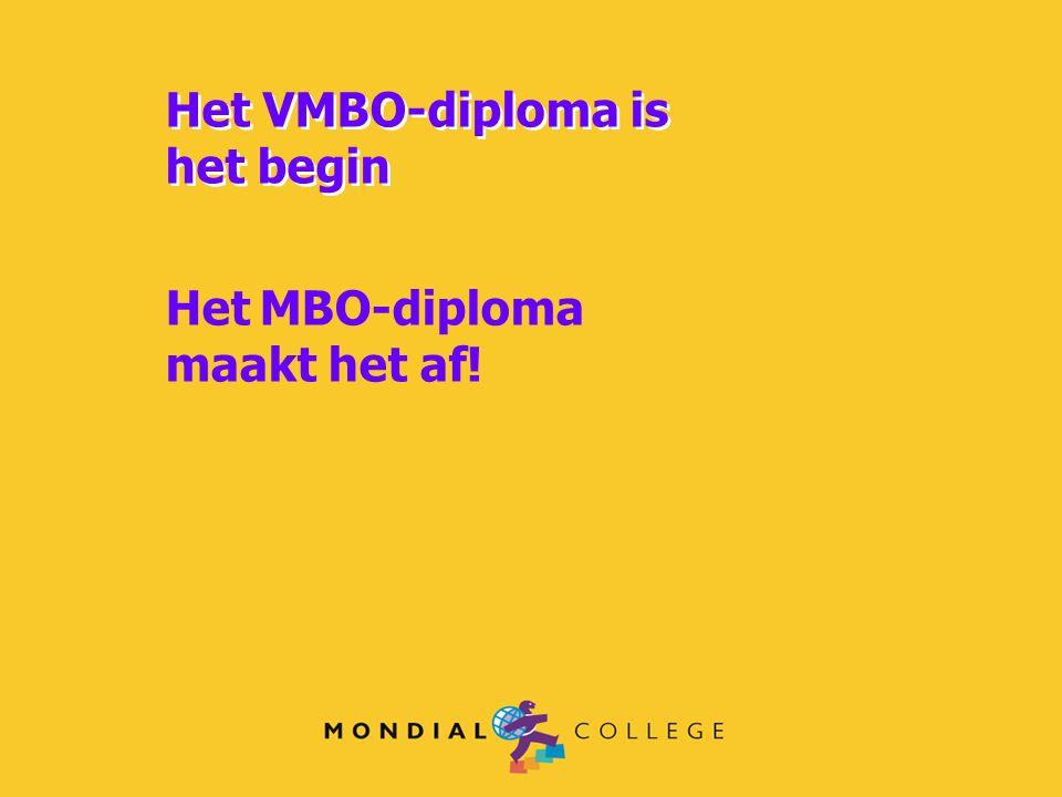 Het VMBO-diploma is het begin Het VMBO-diploma is het begin Het MBO-diploma maakt het af!