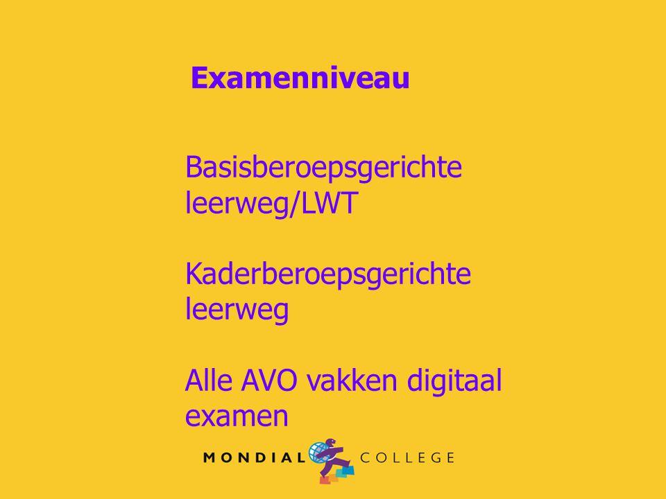Examenniveau Basisberoepsgerichte leerweg/LWT Kaderberoepsgerichte leerweg Alle AVO vakken digitaal examen