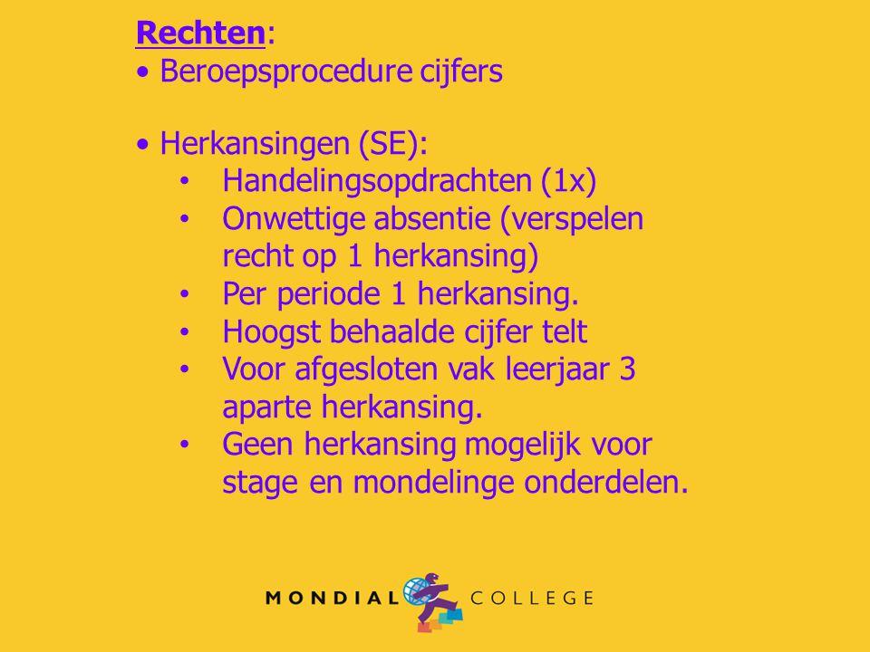 Rechten: Beroepsprocedure cijfers Herkansingen (SE): Handelingsopdrachten (1x) Onwettige absentie (verspelen recht op 1 herkansing) Per periode 1 herk