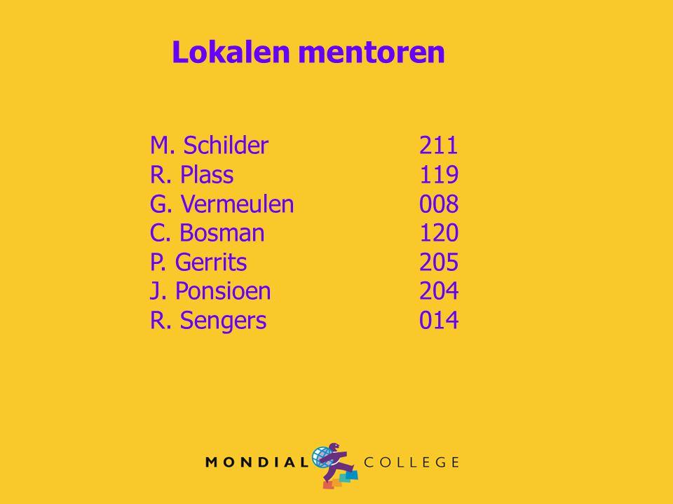 Lokalen mentoren M. Schilder211 R. Plass119 G. Vermeulen008 C. Bosman 120 P. Gerrits 205 J. Ponsioen 204 R. Sengers014