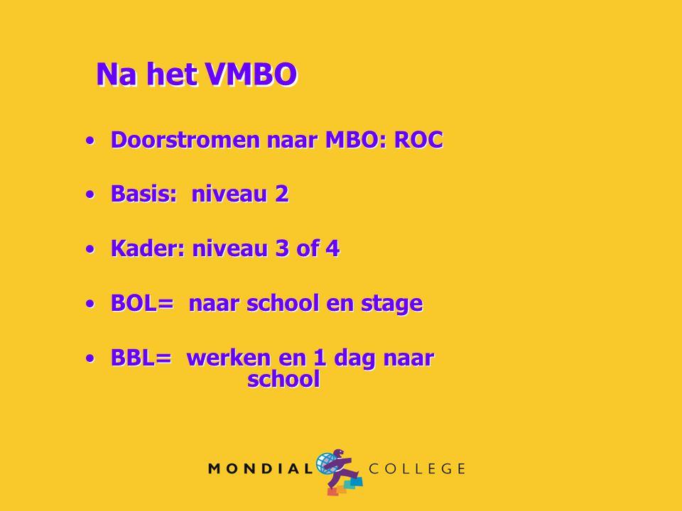 Doorstromen naar MBO: ROC Basis: niveau 2 Kader: niveau 3 of 4 BOL= naar school en stage BBL= werken en 1 dag naar school Doorstromen naar MBO: ROC Ba