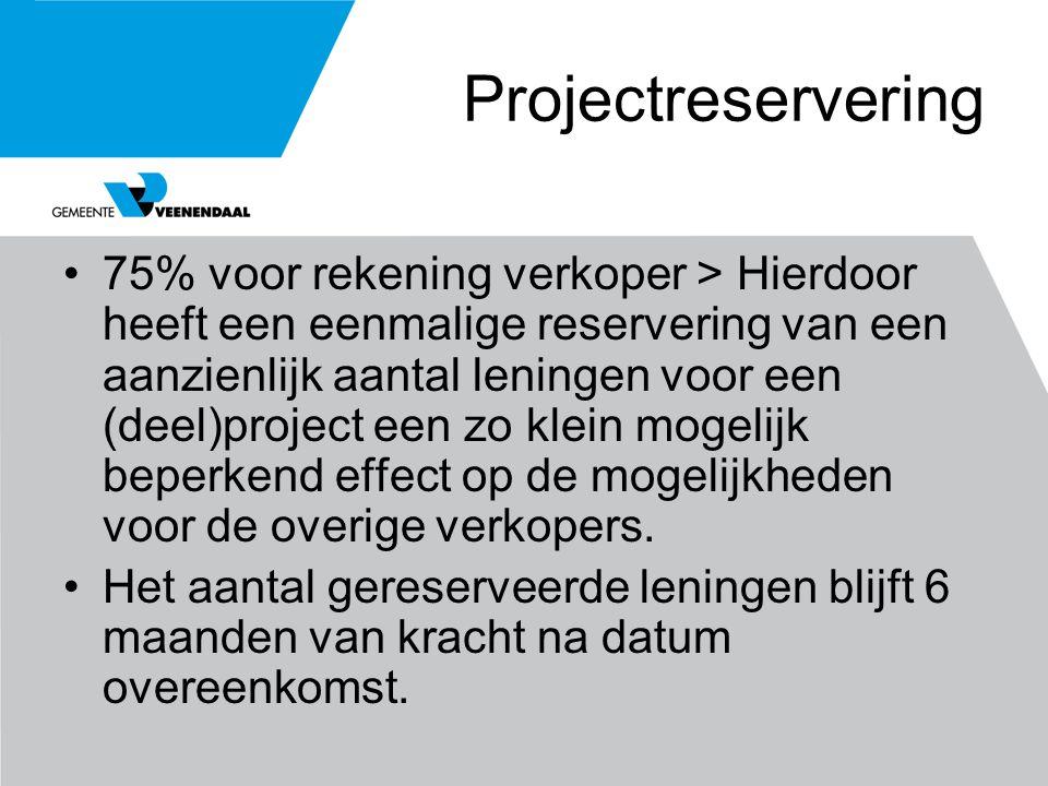 Projectreservering 75% voor rekening verkoper > Hierdoor heeft een eenmalige reservering van een aanzienlijk aantal leningen voor een (deel)project ee