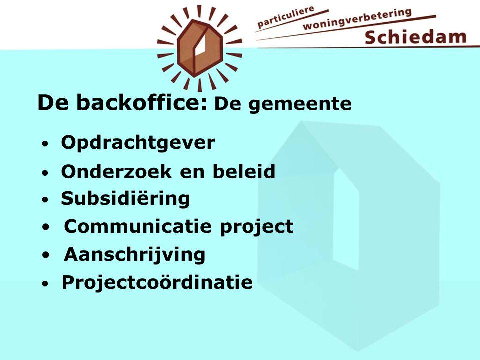 Opdrachtgever De backoffice: De gemeente Onderzoek en beleid Subsidiëring Communicatie project Aanschrijving Projectcoördinatie
