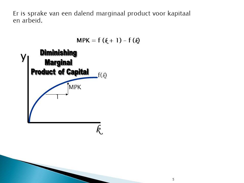 5 MPK = f ( k + 1) – f ( k )yk f( k ) Er is sprake van een dalend marginaal product voor kapitaal en arbeid. 1 MPK