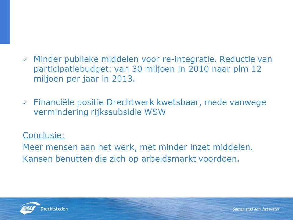 Minder publieke middelen voor re-integratie.
