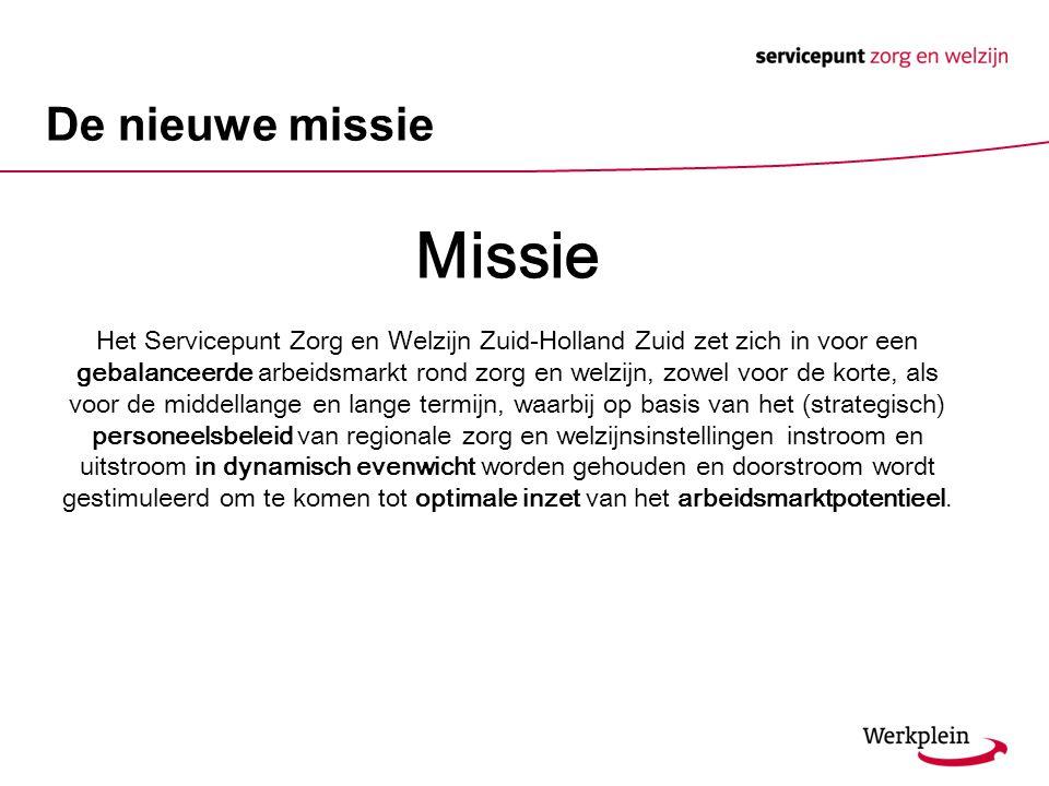 De nieuwe missie Missie Het Servicepunt Zorg en Welzijn Zuid-Holland Zuid zet zich in voor een gebalanceerde arbeidsmarkt rond zorg en welzijn, zowel