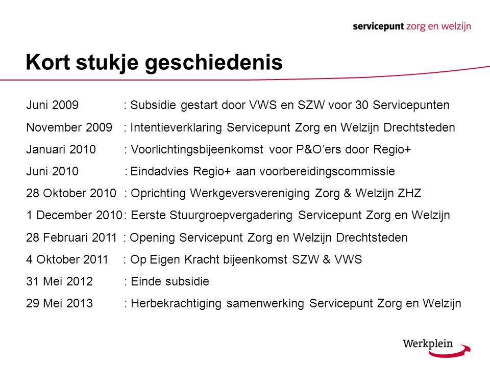 Kort stukje geschiedenis Juni 2009 : Subsidie gestart door VWS en SZW voor 30 Servicepunten November 2009 : Intentieverklaring Servicepunt Zorg en Wel
