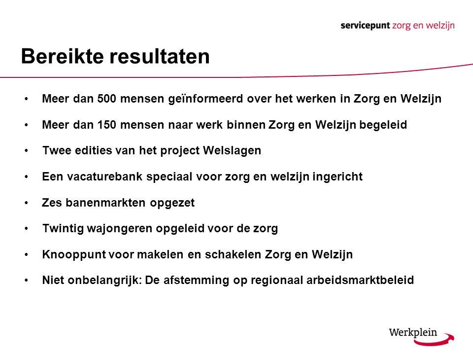 Bereikte resultaten Meer dan 500 mensen geïnformeerd over het werken in Zorg en Welzijn Meer dan 150 mensen naar werk binnen Zorg en Welzijn begeleid