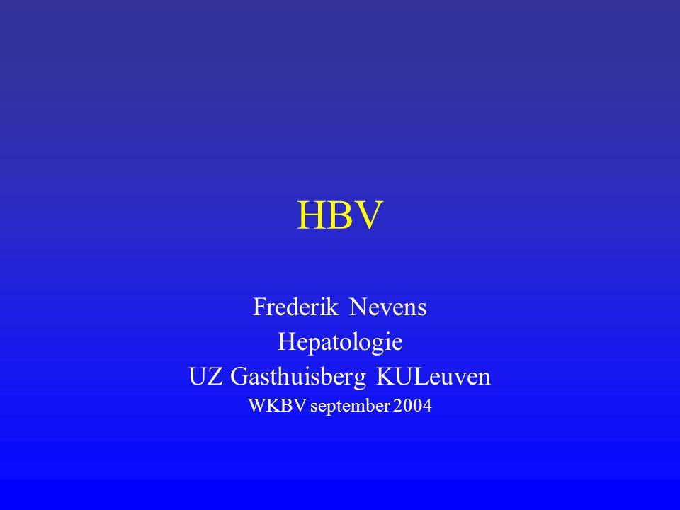Welke behandeling HBeAg+1) INFα: 5-10 MU 3/w sc 4-6m (1) 2) Lamivudine (2) (Zeffix ® ): 100 mg/dag tot HBeAS+(30%)(kan jaren duren) HBeAg-1) Lamivudine tot HBsAg- (10%) 2) INFα 1 – 1 ½ jaar.
