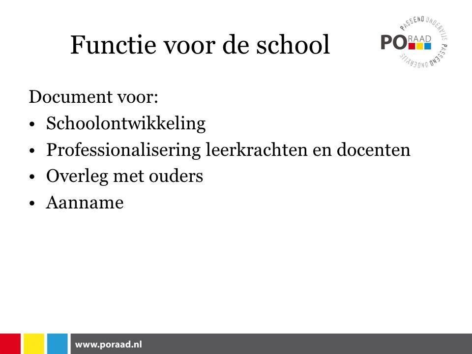 Functie voor de school Document voor: Schoolontwikkeling Professionalisering leerkrachten en docenten Overleg met ouders Aanname