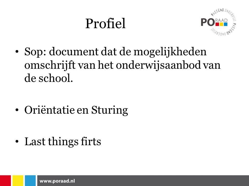 Profiel Sop: document dat de mogelijkheden omschrijft van het onderwijsaanbod van de school.