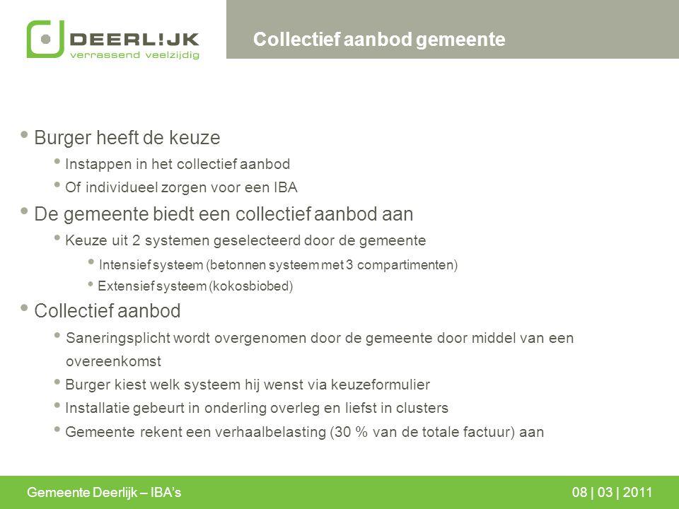 Gemeente Deerlijk – IBA's08 | 03 | 2011 Collectief aanbod gemeente Burger heeft de keuze Instappen in het collectief aanbod Of individueel zorgen voor
