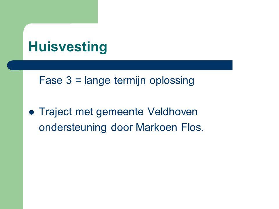 Huisvesting Fase 3 = lange termijn oplossing Traject met gemeente Veldhoven ondersteuning door Markoen Flos.