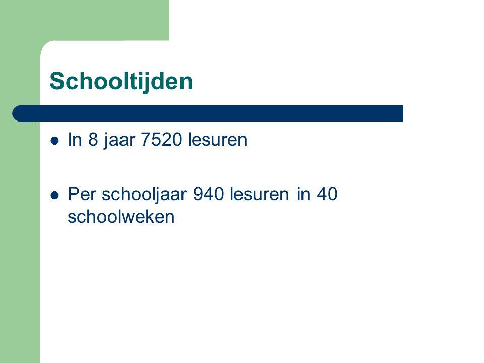 Schooltijden In 8 jaar 7520 lesuren Per schooljaar 940 lesuren in 40 schoolweken