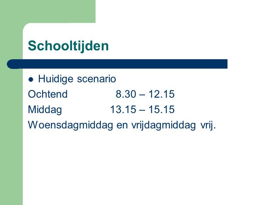 Schooltijden Huidige scenario Ochtend 8.30 – 12.15 Middag13.15 – 15.15 Woensdagmiddag en vrijdagmiddag vrij.