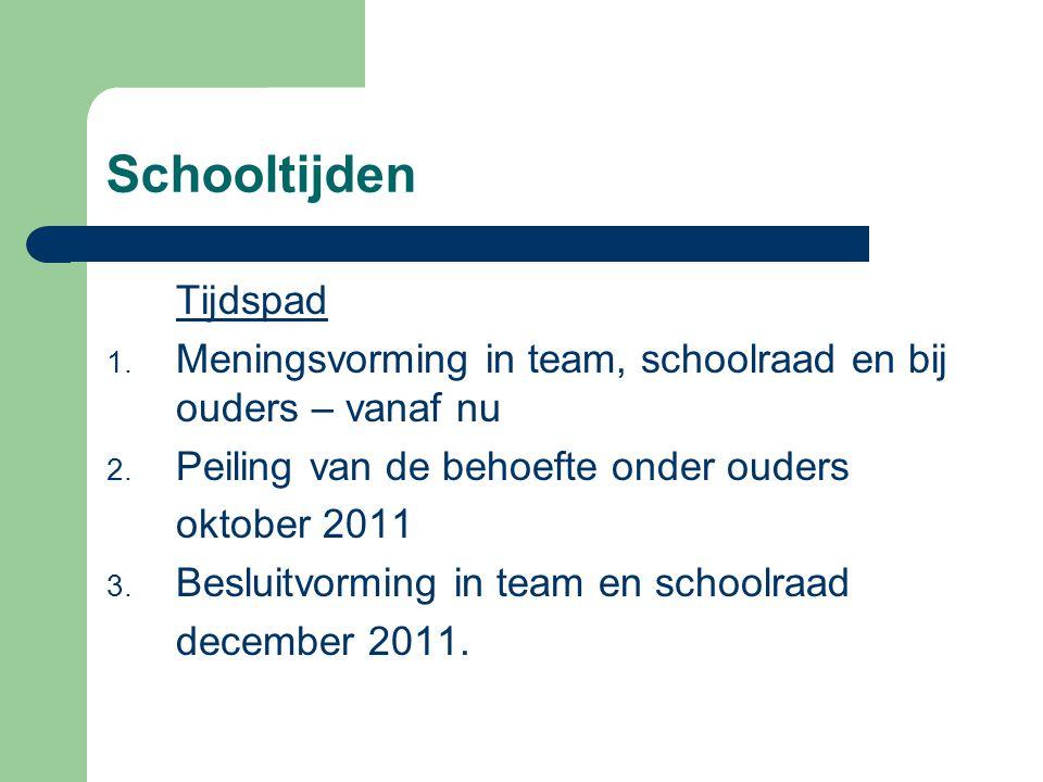 Schooltijden Tijdspad 1. Meningsvorming in team, schoolraad en bij ouders – vanaf nu 2. Peiling van de behoefte onder ouders oktober 2011 3. Besluitvo