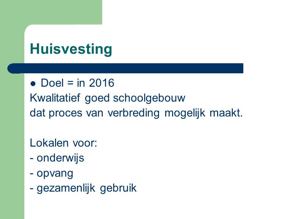 Huisvesting Doel = in 2016 Kwalitatief goed schoolgebouw dat proces van verbreding mogelijk maakt. Lokalen voor: - onderwijs - opvang - gezamenlijk ge