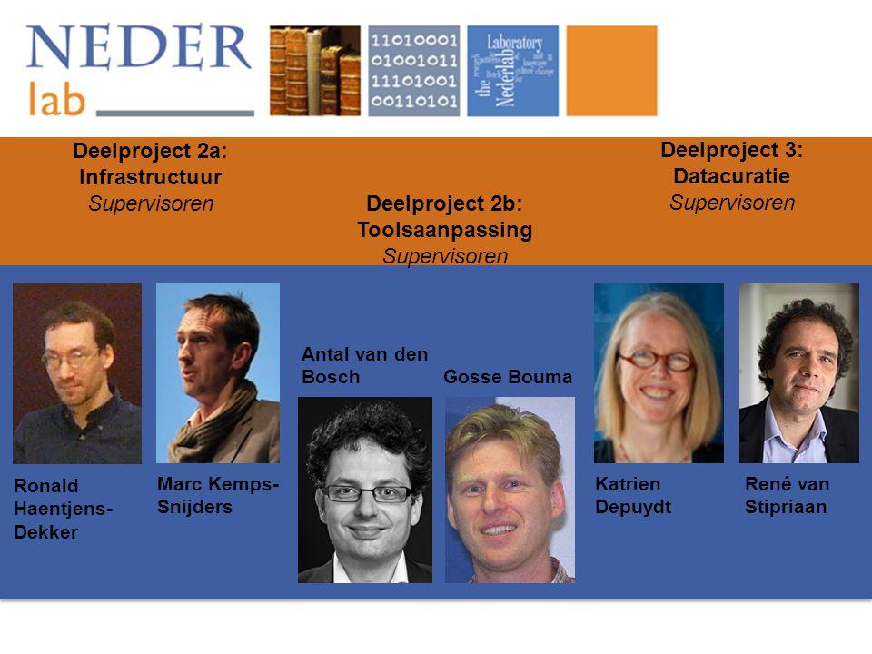 Deelproject 2a: Infrastructuur Supervisoren Deelproject 2b: Toolsaanpassing Supervisoren Deelproject 3: Datacuratie Supervisoren Ronald Haentjens- Dek