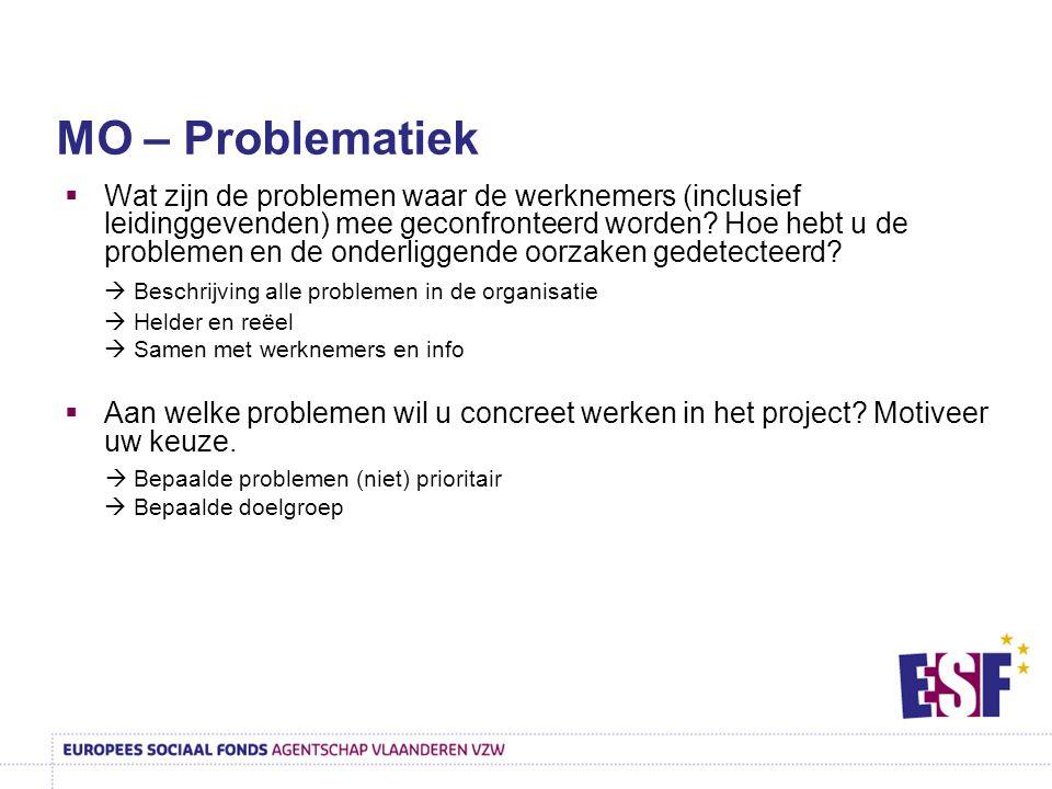  Wat zijn de problemen waar de werknemers (inclusief leidinggevenden) mee geconfronteerd worden? Hoe hebt u de problemen en de onderliggende oorzaken