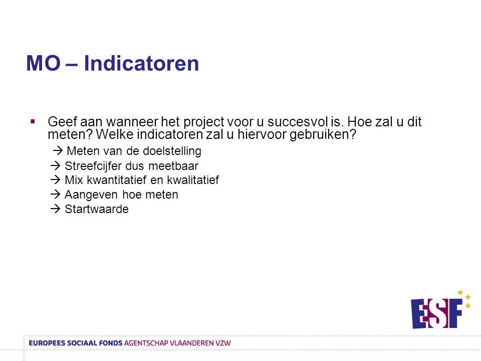  Geef aan wanneer het project voor u succesvol is. Hoe zal u dit meten? Welke indicatoren zal u hiervoor gebruiken?  Meten van de doelstelling  Str