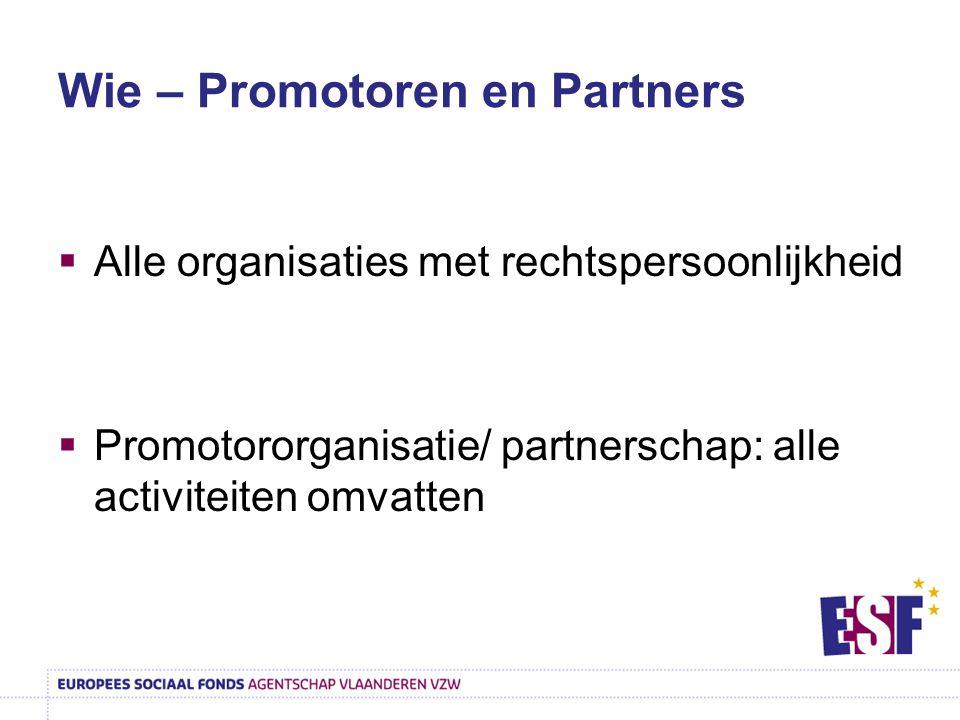 Wie – Promotoren en Partners  Alle organisaties met rechtspersoonlijkheid  Promotororganisatie/ partnerschap: alle activiteiten omvatten