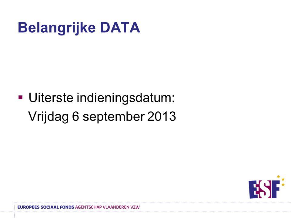 Belangrijke DATA  Uiterste indieningsdatum: Vrijdag 6 september 2013