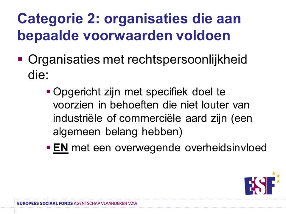 Categorie 2: organisaties die aan bepaalde voorwaarden voldoen  Organisaties met rechtspersoonlijkheid die:  Opgericht zijn met specifiek doel te vo