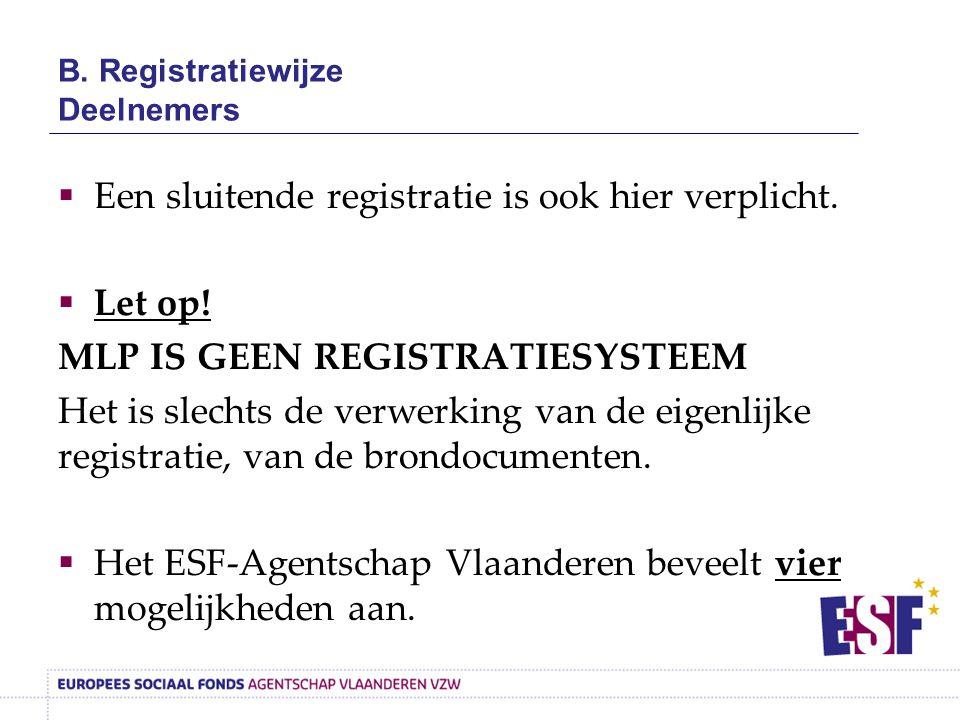 B. Registratiewijze Deelnemers  Een sluitende registratie is ook hier verplicht.  Let op! MLP IS GEEN REGISTRATIESYSTEEM Het is slechts de verwerkin