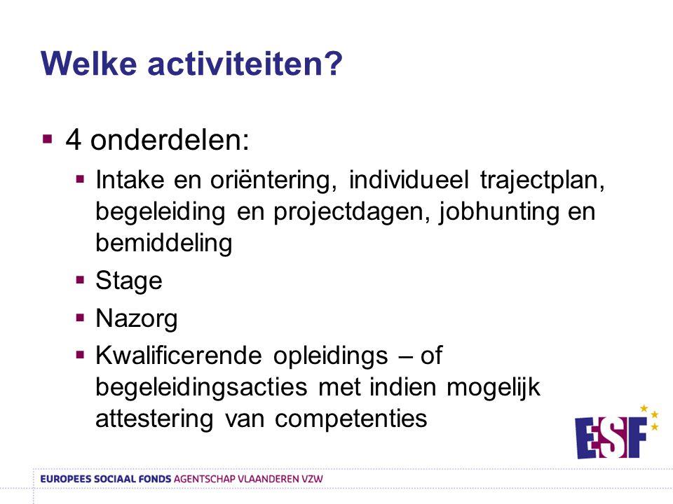 Welke activiteiten?  4 onderdelen:  Intake en oriëntering, individueel trajectplan, begeleiding en projectdagen, jobhunting en bemiddeling  Stage 