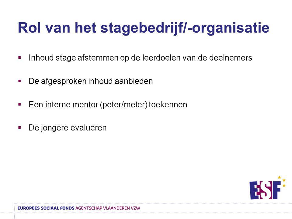 Rol van het stagebedrijf/-organisatie  Inhoud stage afstemmen op de leerdoelen van de deelnemers  De afgesproken inhoud aanbieden  Een interne ment