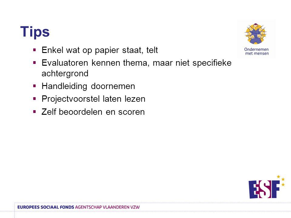  Enkel wat op papier staat, telt  Evaluatoren kennen thema, maar niet specifieke achtergrond  Handleiding doornemen  Projectvoorstel laten lezen  Zelf beoordelen en scoren Tips