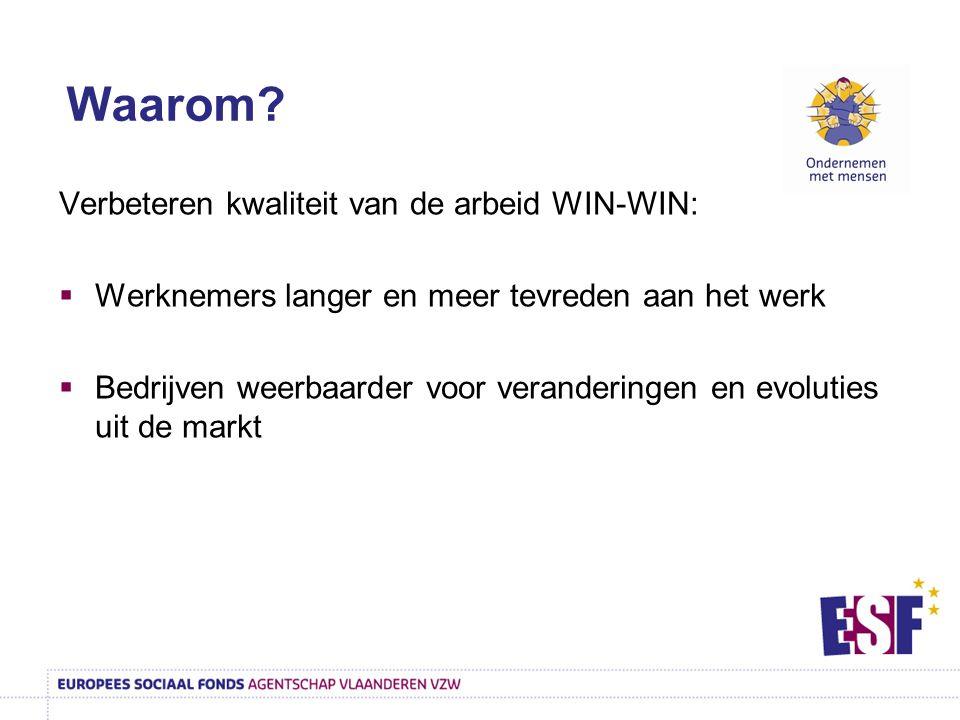 Verbeteren kwaliteit van de arbeid WIN-WIN:  Werknemers langer en meer tevreden aan het werk  Bedrijven weerbaarder voor veranderingen en evoluties uit de markt Waarom