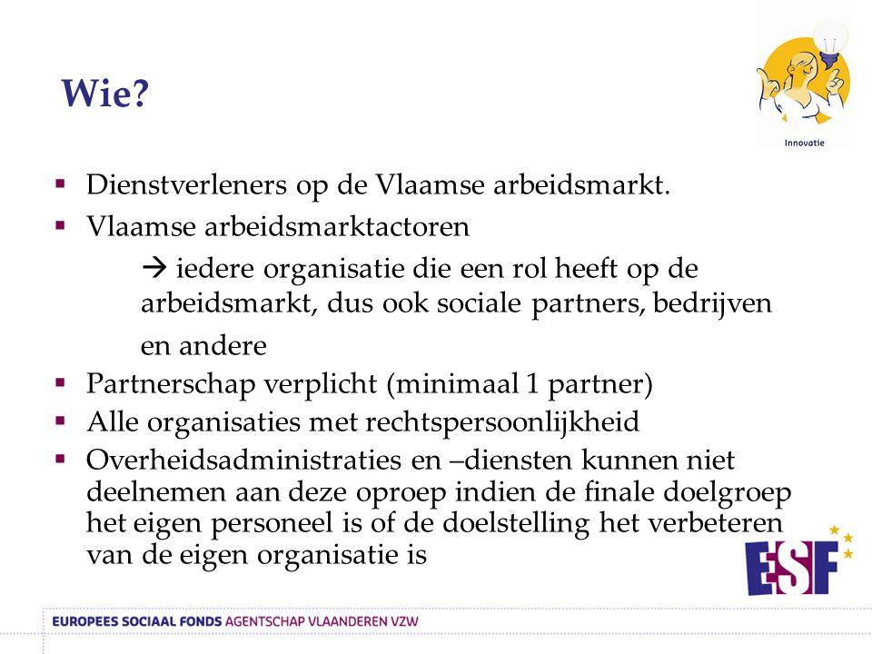 Dienstverleners op de Vlaamse arbeidsmarkt.  Vlaamse arbeidsmarktactoren  iedere organisatie die een rol heeft op de arbeidsmarkt, dus ook sociale