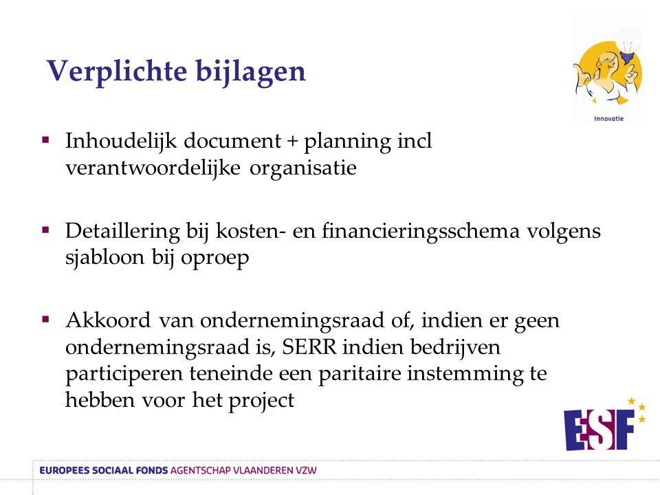  Inhoudelijk document + planning incl verantwoordelijke organisatie  Detaillering bij kosten- en financieringsschema volgens sjabloon bij oproep  A